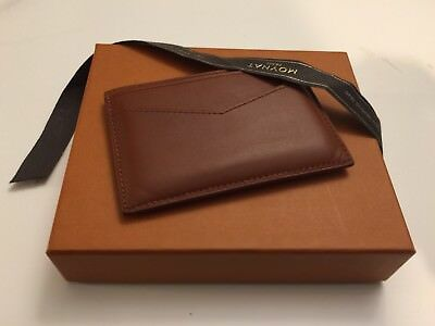 Moynat Paris Men's Dark Orange Leather Card Holder Wallet AUTHENTIC