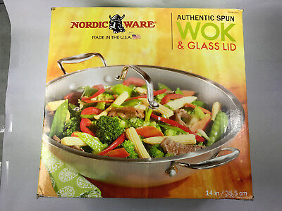 "NORDIC WARE Authentic Spun WOK LRG 14"" NEW QUALITY STIR FRY PAN with glass lid"