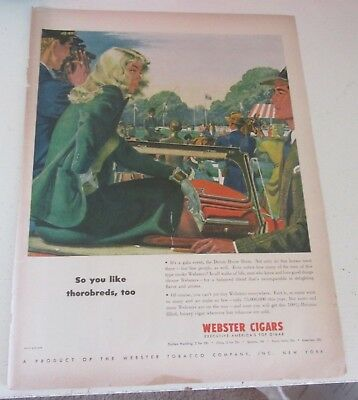1946 original ad Webster Cigars Man Talks to Pretty Lady at Devon Horse Show