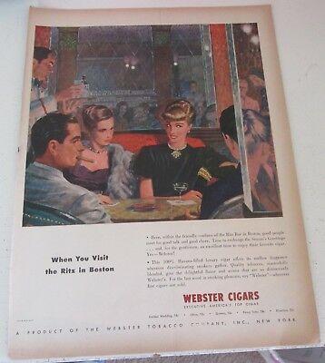 1946 original ad Webster Cigars Couples Dine at Ritz in Boston