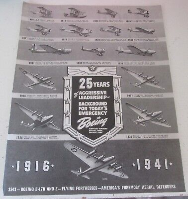 1941 original ad Boeing Aircraft 25th Anniversary ad Planes thru the Years
