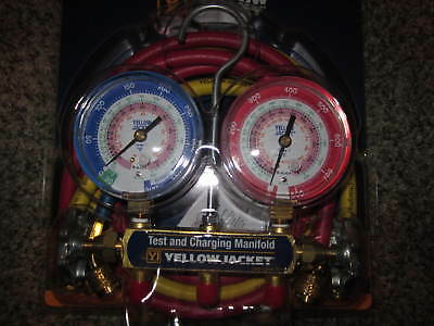 """Yellow Electrical Jacket 42004 Series 41 Manifold With 3-1/8"""" Gauge"""