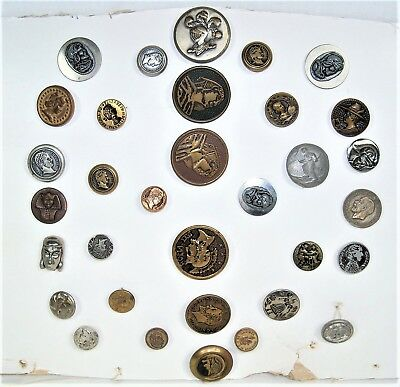 Vintage Sewing Buttons - Lot of 33 Metal Portrait Buttons - King Tut - Egyptian