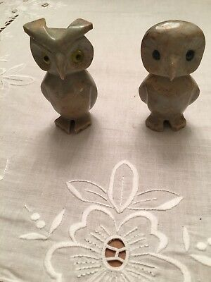 Peruvian Hand carved Soapstone miniature Figurine Pair of OWLS, new from Peru