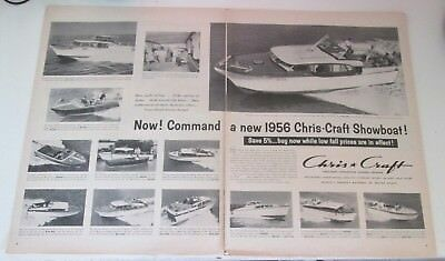 1956 original ad Chris Craft Boats 12 models/sizes  2 pages