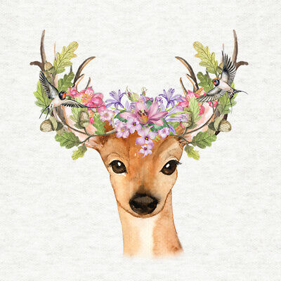 Yearling Stag With Floral Acorn Headdres - Fabric Craft Quilting Panel
