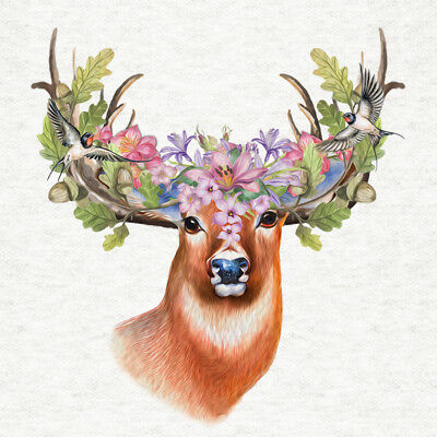 Adult Stag, With Floral Acorn & Swifts Headdress - Fabric Craft Quilting Panel