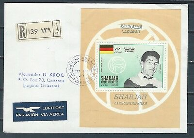 Middle East UAE Trucial Sharjah stamp sheet on cover to Suisse thru Kuwait #2
