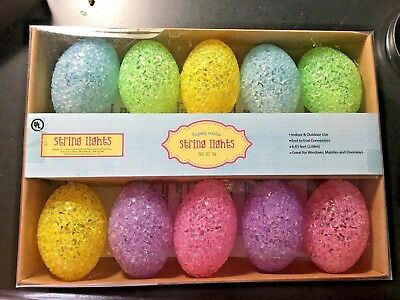 EASTER EGG STRING LIGHTS - Electric, Big Icy Eggs , Pastel Colors NEW