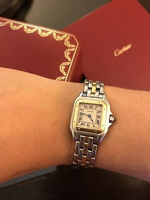 Panthere De Cartier Watch Two Tone Tank Yellow Gold Steel 22mm