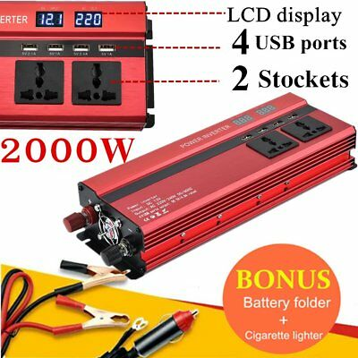 2000W(4000W Max) 12V-240V Car Power Inverter W/ LCD Display + 4 USB Ports X5