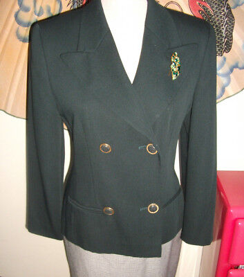 vintage Bianca 1930s-1940s style casual green blazer tailored suit jacket 10-12