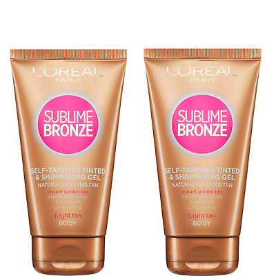 NEW L'Oreal Sublime Bronze Body Tinted Self Tanning Gel -Light Tan 150ml -2 Pack