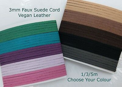 3mm Faux Suede Cord Vegan Leather 1/3/5m Brown Black Beige Turquoise Pink Purple