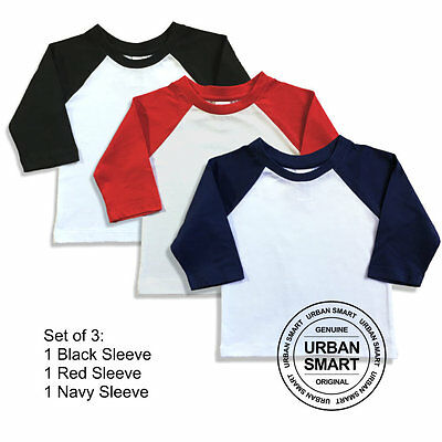 "3-Pack ""Urban Smart"" Toddler & Baby Raglan Blanks - Boy & Girl Baseball Shirts"