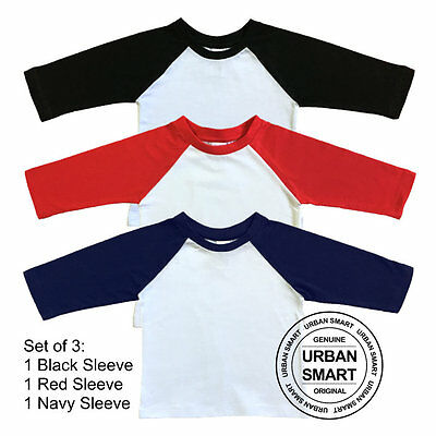 "3-Pack ""Urban Smart"" Toddler & Baby Raglan Blanks - Boy & Girls Baseball Shirts"