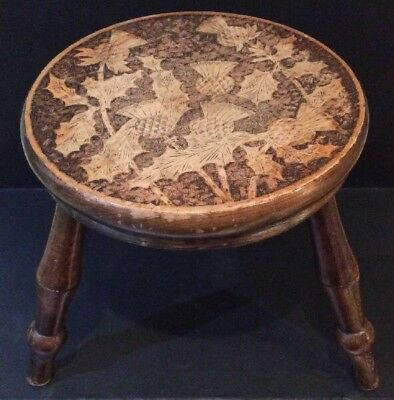 Antique Late Victorian Scottish Thistle Design Poker Work 3 Legged Milking Stool