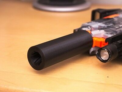 3D Printed orange/pink Rifled Silencer Style Barrel for NERF Gun