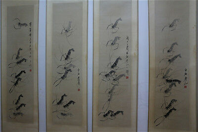 "RARE Chinese 100% Hand Painting 4 Scrolls ""Shrimps"" By Qi baishi 齐白石 WED6859"