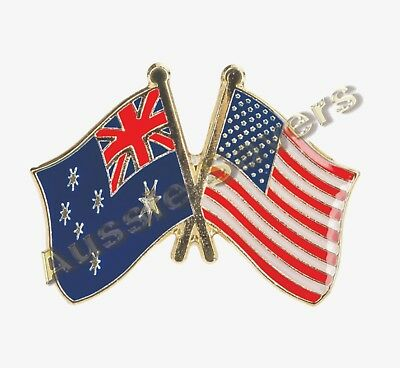 Australian / Usa (America) Flag Hat Pin / Badge - Enamel Friendship Badge