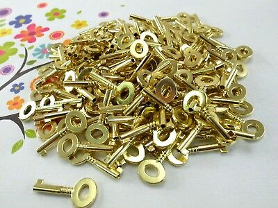Old Vintage Style Open Barrel Keys Brass Color- Lot of 100 (New)