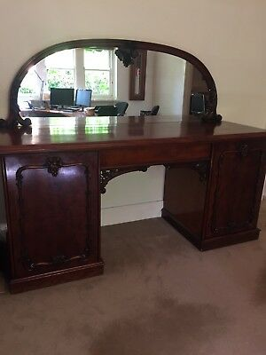Antique Victorian Herring & Son Mahogany Pedestal Sideboard
