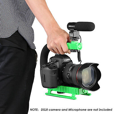 GREEN C-Shape Action Handle Bracket w/ Hot Shoe for DSLR Camera Gopro DV Flash