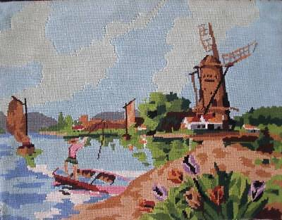 """vintage completed  needlepoint fishing dinghies and a windmill 19.5""""x14.5"""