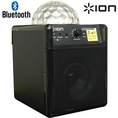 ION Party Power Wireless Bluetooth Audio Speaker with Disco  LED Lights Ball