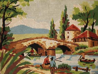 """vintage completed cotton needlepoint country fishing dinghies bridge 19.5""""x14.5"""