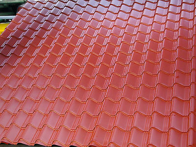 Tile Effect Roofing Sheets,Terracotta, PLASTIC COATED Coated, 0.7mm, sheds