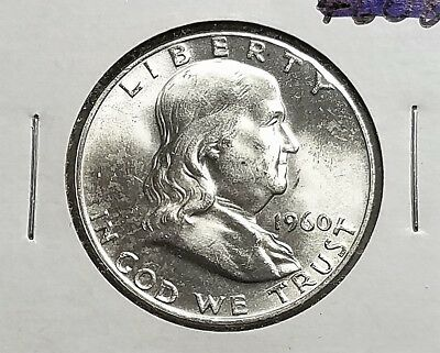 1960-D Franklin Silver Half Dollar - 90% Silver - Gorgeous Mint State Coin - FBL