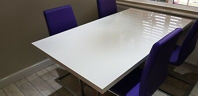Furniture Village White High Gloss Dining Room Table And 6 Chairs