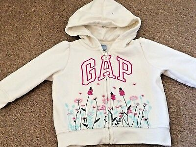 Girls Baby Gap White Hooded Zip Up Jacket Floral Pattern Age 12-18 Months B14