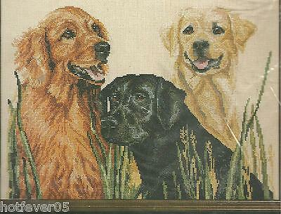JANLYNN Counted Cross Stitch Kit, RETRIEVERS,1987, Sealed,Mpn 58-5