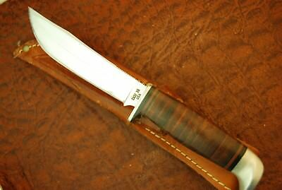 Vintage Case Xx Usa 1965-1969 Stacked Leather Fixed Blade Hunting Knife (3147(