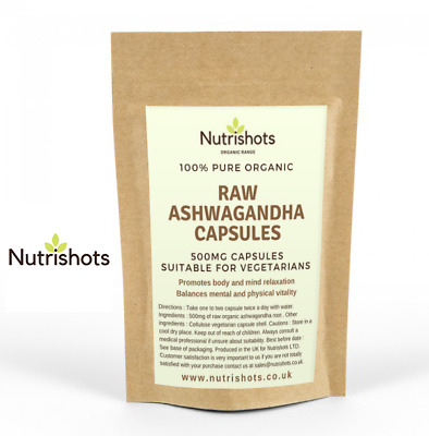 Ashwagandha Capsules 100% Raw Organic Natural (500Mg) Combats Stress And Anxiety
