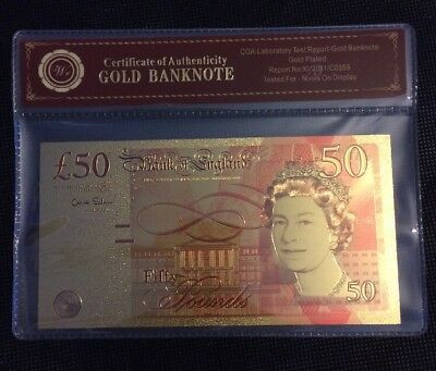 RESTRIKE Gold Plated 24k £50 Note With Certificate Coa Banknote 50 Pounds