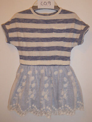 NEXT - Gorgeous Baby Girls Blue & White Dress With Lace Outfit 6-9 Months VGC