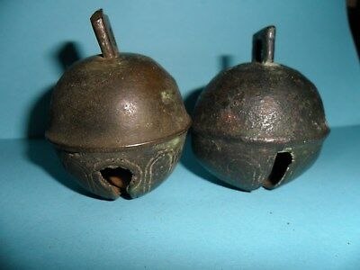 Lot of (2) Vintage Large Heavy Brass Sleigh Bells from a Horse Harness