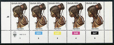 1982 South West Africa.  Traditional Headdresses of SWA.  20c strip of 5 MUH.