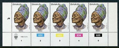 1982 South West Africa.  Traditional Headdresses of SWA.  6c strip of 5 MUH.