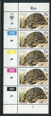 1982 South West Africa.  Tortoises.  15c Leopard Tortoise.  Strip of 5 MUH.