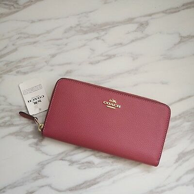 NWT Coach Pebbled Leather Accordion Zip Wallet F16612 Rouge $250