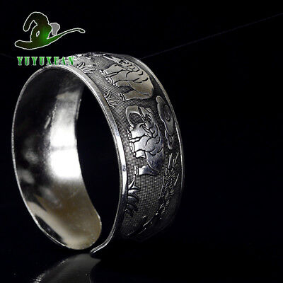 Exquisite Tibetan Silver Carved Elephant Pattern Bracelet S1009