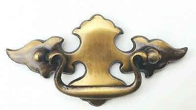 "Brass Antique Hardware Chippendale Batwing drawer pull  Vintage 2 1/2"" on center"