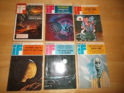 IF Worlds of Science Fiction (Lot of 6 Digest Magazines) 1973 Complete Year