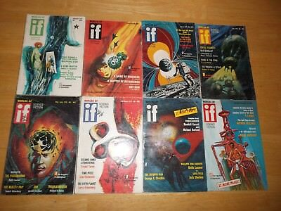 IF Worlds of Science Fiction (Lot of 8 Digest Magazines) 1970 Complete Year