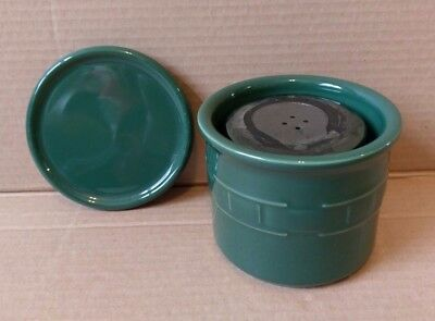 Longaberger Pottery Ivy Green Salt Candle Holder Crock 1 Pint With Lid Coaster