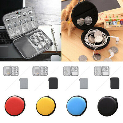 Mini Earphone Case Coin Purse Cable Storage Box Earbud Holder Container Round